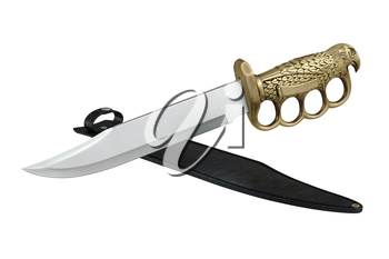 Knife steel dagger with shiny gold handle. 3D graphic