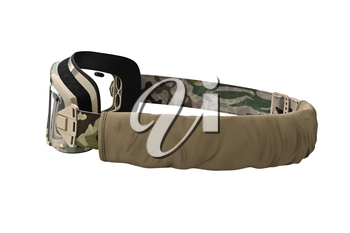 Military goggles protection for soldiers, khaki camo. 3D graphic