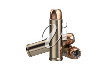 Bullet gun weapon with round shell. 3D graphic