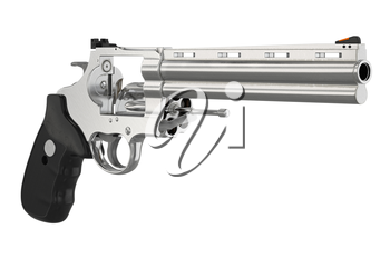 Revolver firearm ammunition security safety. 3D graphic