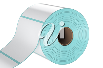 Roll stack label print, close view. 3D graphic