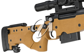 Rifle sniper butt with trigger military equipment, close view. 3D graphic