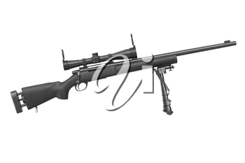 Rifle sniper metal hunting shotgun, side view. 3D graphic
