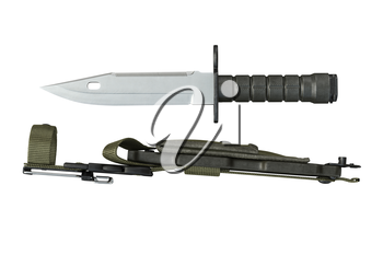 Knife army metal weapon with handle and sheath, side view. 3D rendering