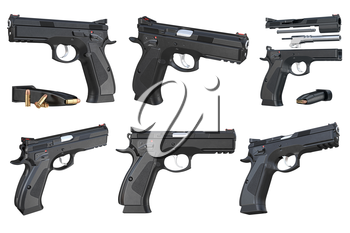Gun weapon black modern pistol with magazine set. 3D rendering
