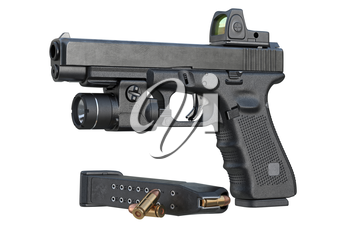 Gun weapon black military pistol with flashlight and scope. 3D rendering