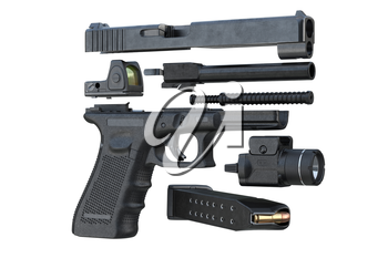 Gun weapon handgun military defense, disassembled. 3D rendering