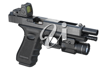 Gun weapon pistol with military flashlight. 3D rendering