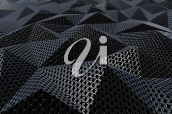 Metallic chain armor abstract geometric triangular background. 3D rendering
