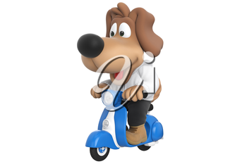 Cartoon dog cute character on blue scooter, with large hanging ears. 3D rendering