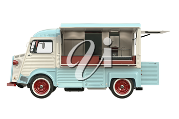 Food truck beige eatery with open doors, side view. 3D rendering