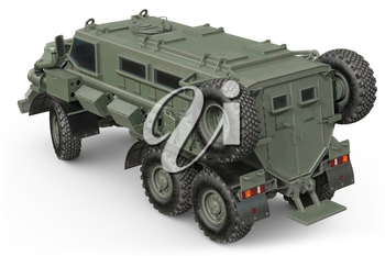 Truck military defense transportation green car. 3D rendering