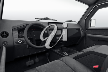 Car interior dashboard leather steering. 3D rendering
