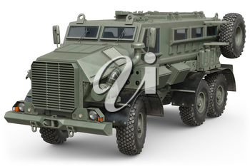 Truck army green vehicle armored machine. 3D rendering