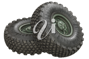 Car wheel military green with bolt. 3D rendering