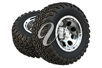 Wheel car rubber tire with chrome disk. 3D rendering