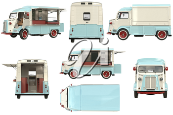 Food truck mobile beige cafe set. 3D rendering