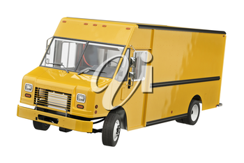 Food truck eatery cafe yellow. 3D rendering