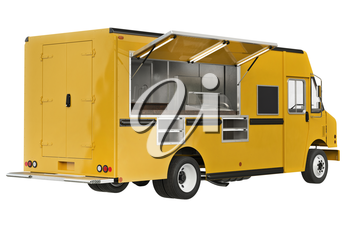 Food truck mobile yellow cafe. 3D rendering