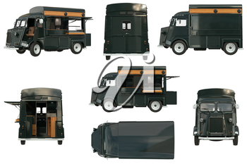 Food truck mobile green cafe set. 3D rendering