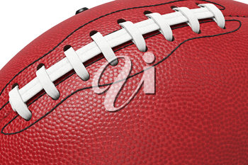 Football american, leather ball equipment, close view. 3D rendering