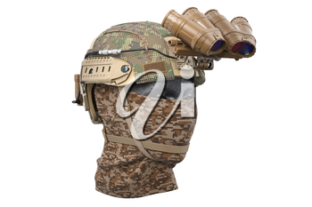 Helmet night goggles with dummy camouflage dressing. 3D rendering