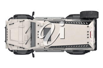 Suv car automotive, top view. 3D rendering