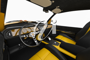 Car comfortable leather cabin inside. 3D rendering