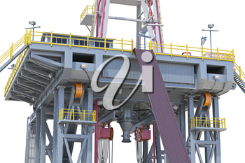 Land rig production gas energy, close view. 3D rendering