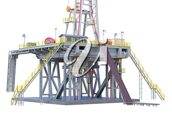 Land rig production oil industry, close view. 3D rendering