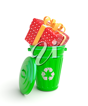 Green garbage bin with present isolated on white
