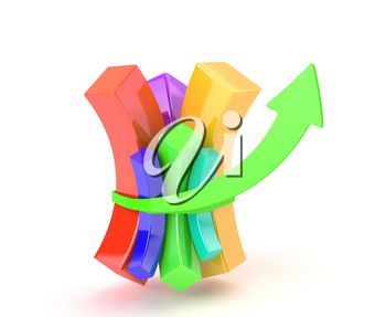 Multicolored diagram tighten with arrow showing financial growth