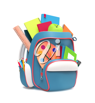 Side view of blue school backpack with pens and copybooks isolated on white background
