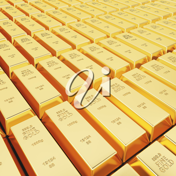 Lots of gold bars in rows