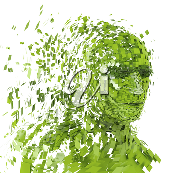 Human head silhouette with  a lot of green pieces