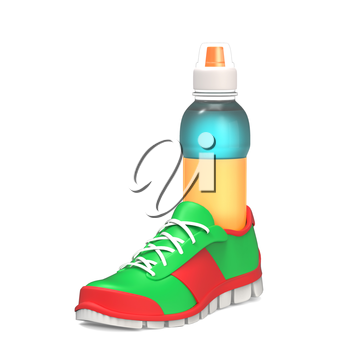 Bottle of water in the running shoe isolated on white
