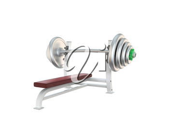 Sport barbell for exercises isolated on white background
