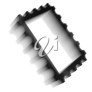 Black pixel icon-like three-dimensional image of postage stamp frame on white background in diagonal view