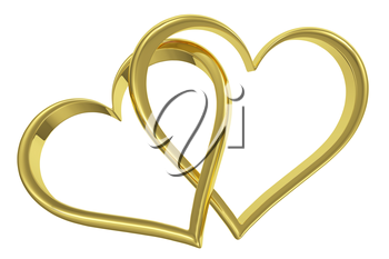 Couple of chained golden hearts isolated on white background front view, wedding symbol