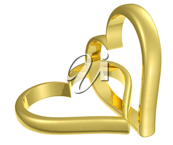 Couple of chained golden hearts isolated on white background, wedding symbol
