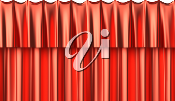 Red silk curtain horizontaly seamless background with gathers under the lights