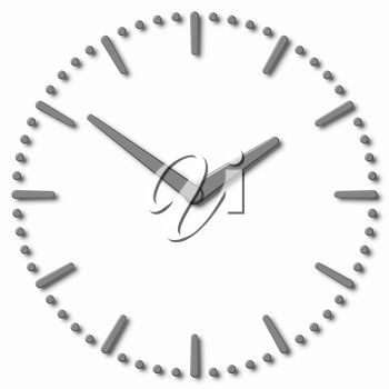 Simple clock face with metal hour hand, metal minute hand with shadows on white clock face with metal hours and minutes markers, 3d illustration