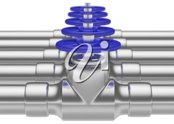 Abstract creative plumbing or gas pipeline industrial concept: steel pipes series with blue valves and selective focus effect, focuse on valve, shallow depth of field, industrial 3D illustration