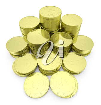 Business finance, financial success and wealth abstract creative concept: heap of gold dollar coins towers arranged in golden stack with small shadows isolated on white background close-up view