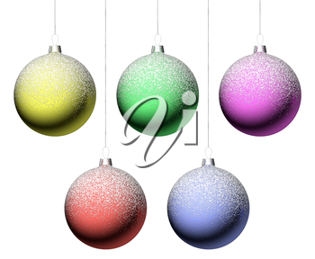 Christmas balls hanging on strings set isolated on white background