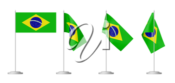 Small table flag of Federative Republic of Brazil on stand isolated on white background,  3d illustrations set