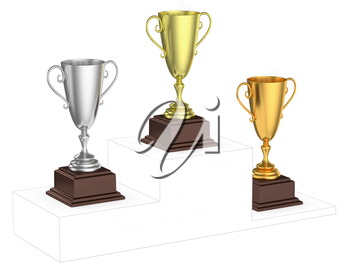 Sports winning and championship and competition success concept - golden, silver and bronze winners trophy cups isolated on the imaginary winners podium drawn by gray contour lines, 3d illustration, d