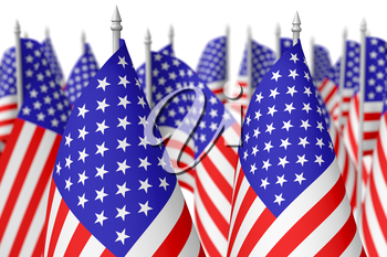 Many small american flags with stars and stripes isolated on white background. Independence Day 4th of July, Veterans Day and Memorial Day celebration in USA concept, 3d illustration, selective focus,