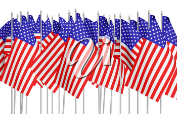 Many small american flags with stars and stripes in a row isolated on white background. Independence Day 4th of July, Veterans Day and Memorial Day celebration in USA concept, 3d illustration