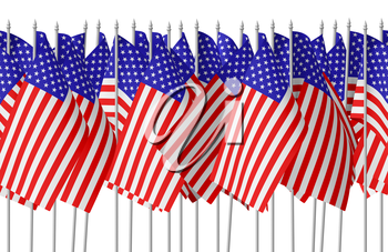 Many small american flags with stars and stripes in row isolated on white background. Independence Day 4th of July, Veterans Day and Memorial Day celebration in USA concept, 3d illustration seamless